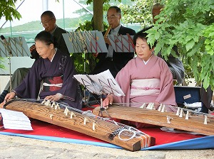 Japanese Traditional Harpists Performing at Concert